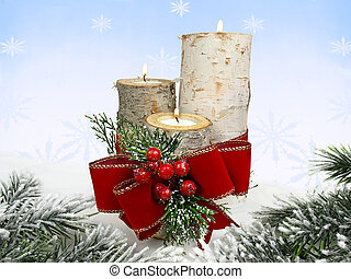 Christmas decoration - birch stump candle holders and red...