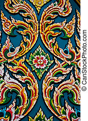 Thai style wood carving - Native Thai style wood carving on...