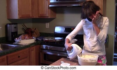 Preparing Thanksgiving Dinner - Teen girl preparing...