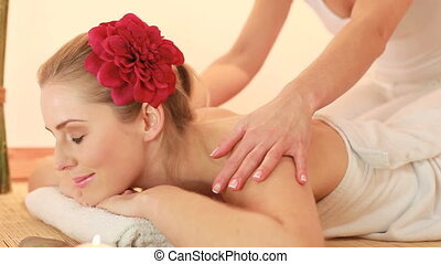spa theraphy - woman having massage in spa