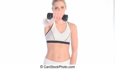 Woman Working Out In Sports Attire upper body on white.