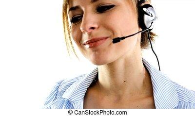 telesales woman - blonde business telesales woman speaking...