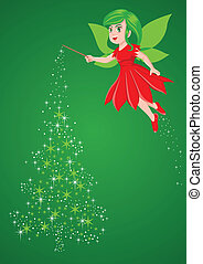 Christmas Pixie - Vector illustration of a pixie making a...