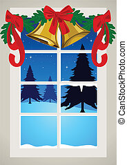 Christmas Decoration - Vector illustration of a window with...