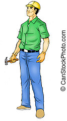 Construction Worker - Illustration of a construction worker,...