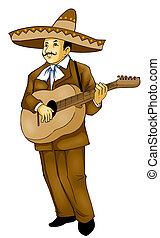 Mexican Musician - Illustration of a Mexican musician,...