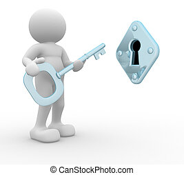 Key and keyhole - 3d people - human character , key and...