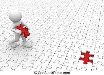 Jigsaw - 3d people - human character and missing piece -...