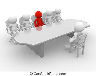 Meeting - 3d people - human character, employee and employer...