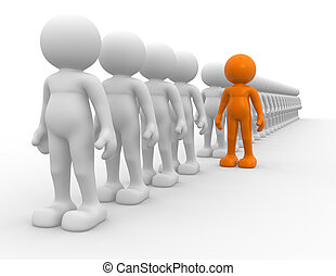 Leadership - 3d people - human character - team and...