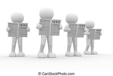 Newspaper - 3d people - human character, reading newspaper ....