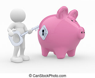 Piggy bank - 3d people- human character with a key and a...