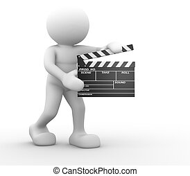 Clapperboard - 3d people -human character and a clapperboard...