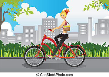 Woman riding a bike - A vector illustration of a woman...