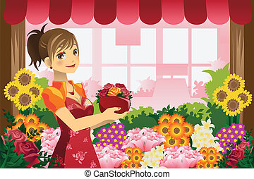 Florist girl - A vector illustration of a florist girl...