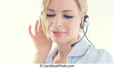telesale woman - blonde business telesales woman speaking...