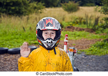 niño, feliz, rastro,  Kart, casco