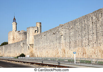 Ramparts of medieval town Aigues-Mortes, southern France