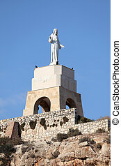 Statue of San Cristobal in the Alcazaba of Almeria, Spain