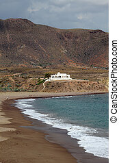 Los Escullos beach near Almeria, Andalusia Spain. Photo...