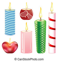 Candles. Set. - A collection of varied candles of different...