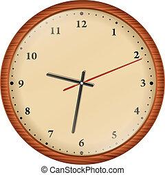 Wooden wall clock, vector illustration