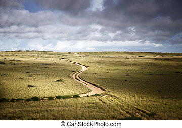 Plains - Country road leading to nowhere in country Western...