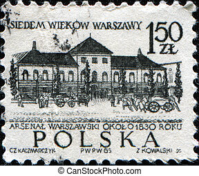 Warsaws arsenal - POLAND - CIRCA 1965: A stamp printed in...