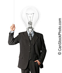 business man turn on hith bulb head