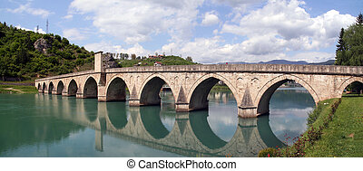 stone bridge on river Drina, Bosnia - old ottoman bridge...