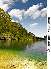 Lake Bohinj - Slovenia - Lake Bohinj in Julian Alps -...