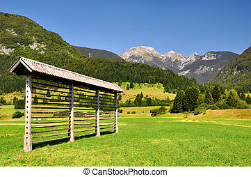 Julian Alps, Slovenia - haylofts in Triglav National Park -...