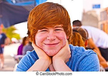 outdoor portrait of relaxed cute young boy - outdoor...