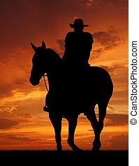 silueta, boiadeiro, cavalo