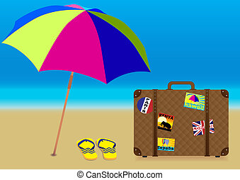 Summer Holiday on the Beach - Parasol, Flip Flops and...