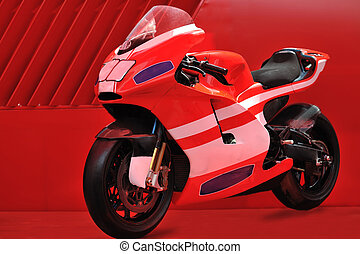 red motor bike - fast sport racing motorbike with copyspace...