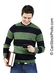 Young male student reading text message - Handsome young...