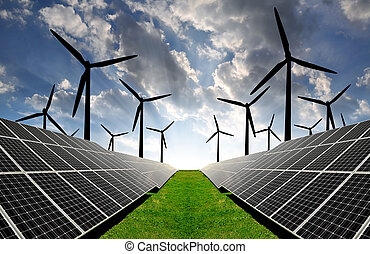 solar energy panels and wind turbine in sunset