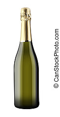Sparkling White Wine Bottle, Champagne bottle isolated on a white background supplied with a hand drawn clipping path.