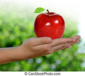Hand with apple  - Hand with  red apple with green leaves