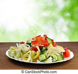 vegetable salad - plate with vegetable salad