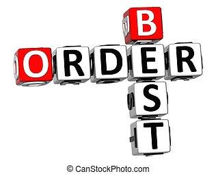 3D Order Best Crossword on white background