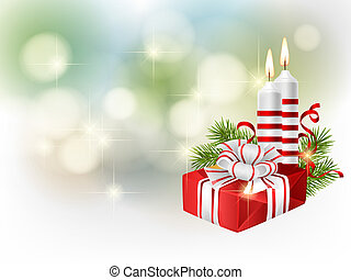 Cristmas background - Fir branches with Christmas gifts,...