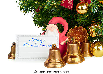 Christmas Santa Claus with bells isolated on a white...