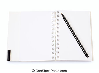 Opened planner with pen - Open daily with a pen isolated on...
