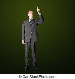 full length businessman push the button - full length asian...