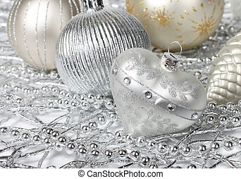 Silver Christmas heart - Silver Christmas decoration heart,...