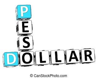 3D Dollar Peso Crossword on white background