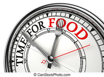 time for food concept clock closeup on white background with...