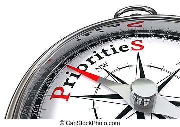 priorities concept compass - priorities the way indicated by...